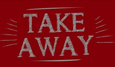 """Immagine di cartello rosso con scritta bianca """"take-away"""""""